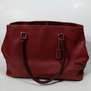 Coach Vintage Hamptons Carryall Red Leather Tote